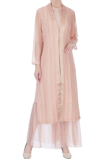 Peach zari embroidered silk long jacket