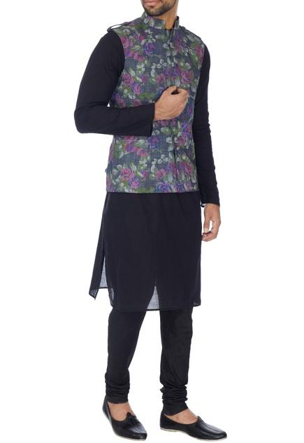 Grey floral printed nehru jacket