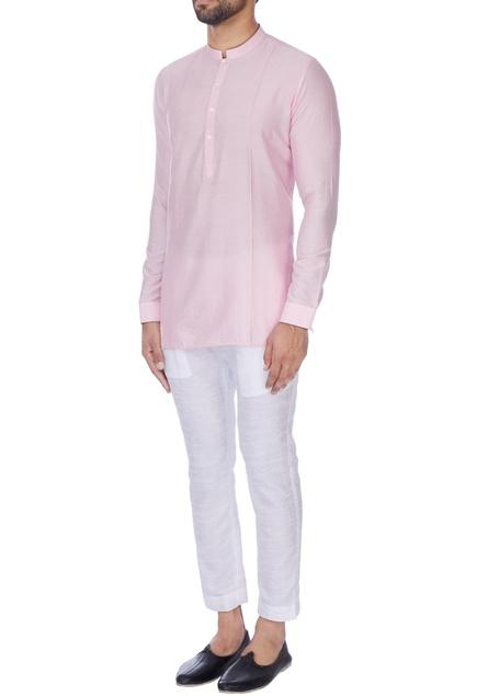 Pink cotton silk short kurta