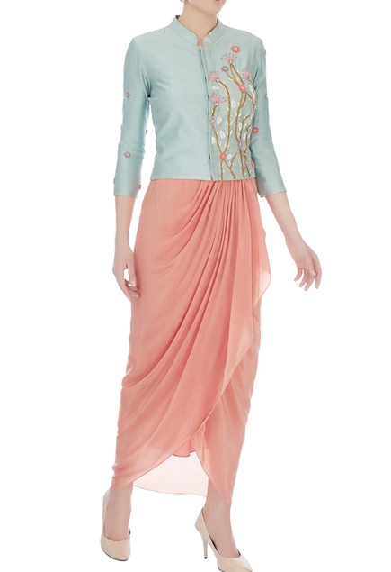 Baby blue & baby pink chanderi, silk & crepe crop jacket with skirt