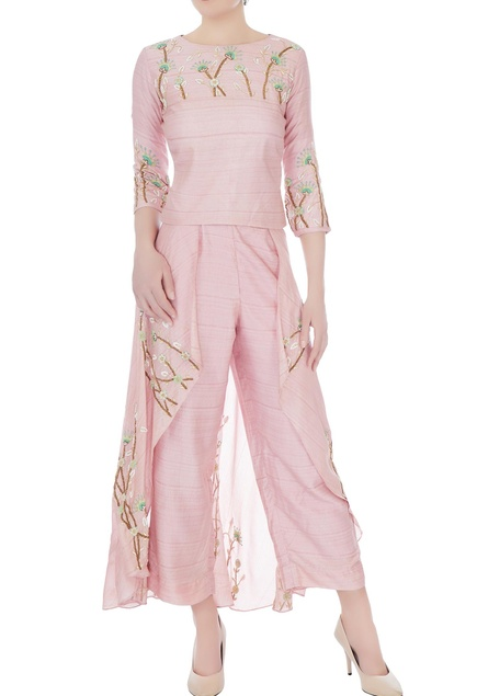 Peach thai silk embroidered blouse with pant skirt