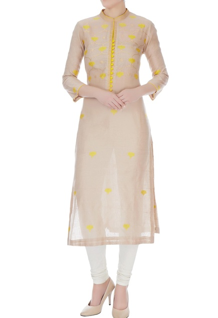 Almond & yellow chanderi handloom woven kamal jaal work kurta