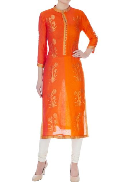 Orange & rust chanderi handloom woven mughal buta work kurta