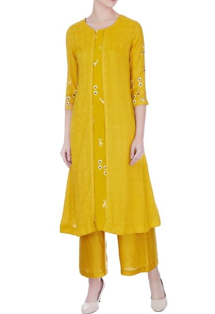 Yellow hand & machine embroidered mustani jacket & kurta