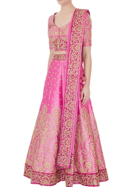 Rose pink raw silk zari & zircon lehenga with blouse & dupatta
