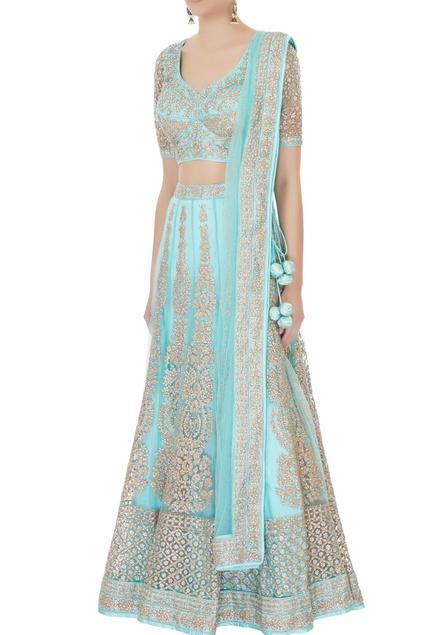 Turquoise blue satin & net aari embroidered lehenga with blouse & dupatta