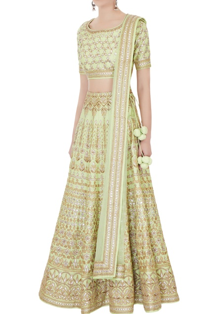 Aqua green raw silk zari embroidered lehenga with blouse & dupatta
