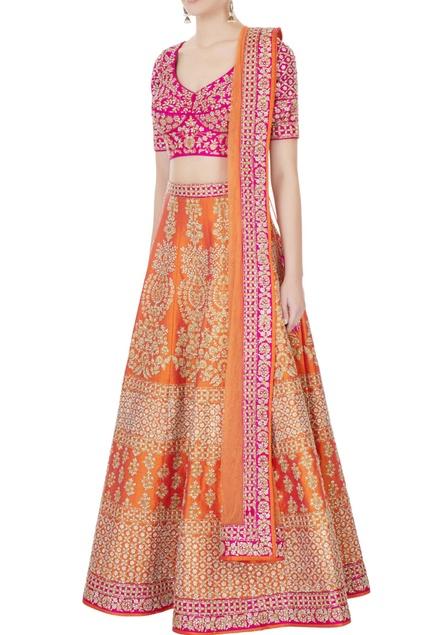 Orange & Fuschia raw silk zari embroidered lehenga with blouse & dupatta