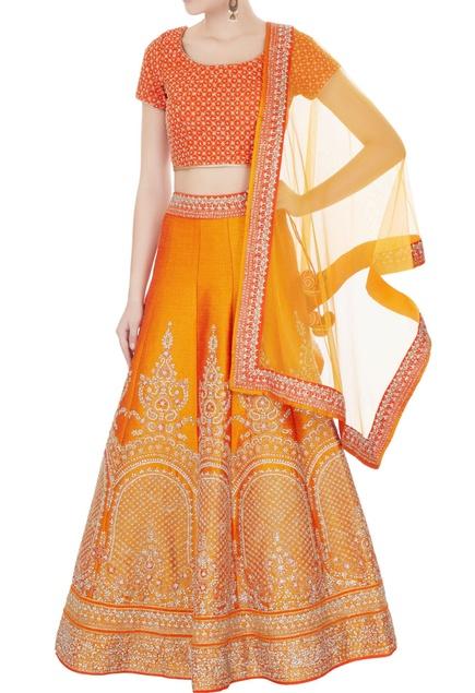 Orange raw silk zari embroidered lehenga with blouse & dupatta