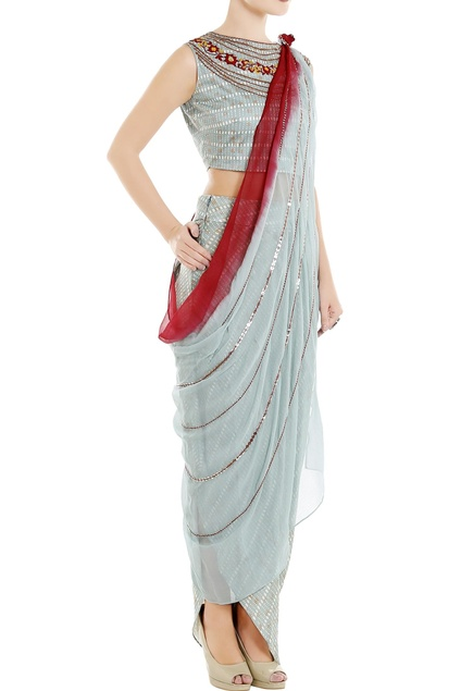 Blue embroidered crop top with draped pants and dupatta