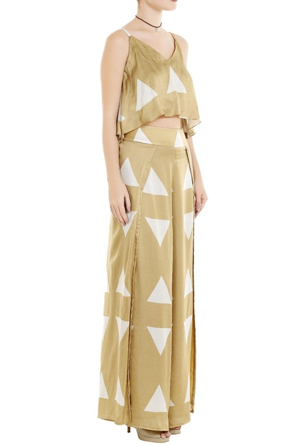 Beige flap style palazzo pants