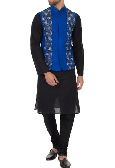 Electric blue matka silk embroidered bundi