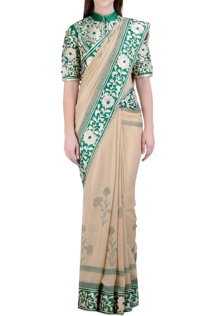 Beige & green handloom, georgette & silk gota embroidered saree with blouse