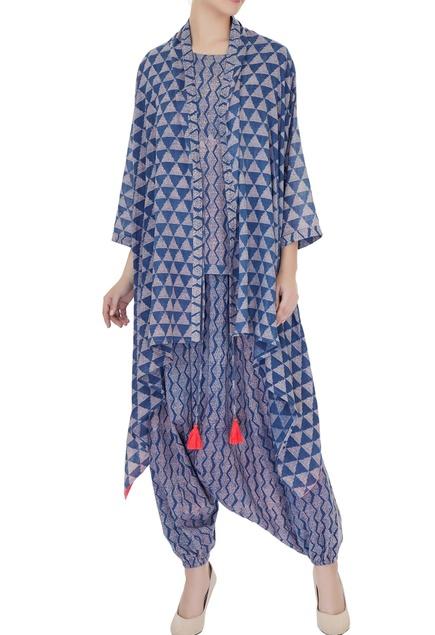 Indigo blue & grey ajrak printed pure cotton cape set
