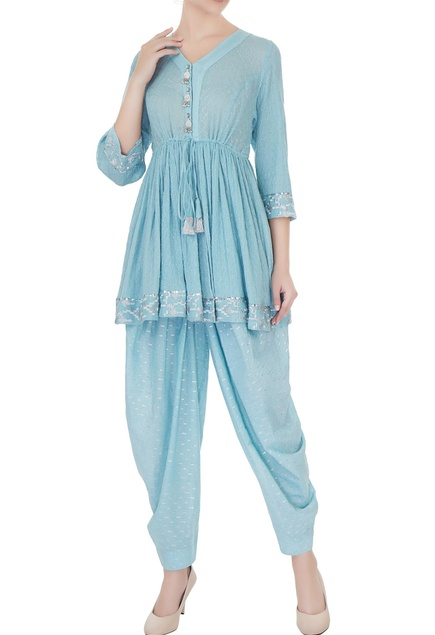 Blue pure cotton zari embroidered short kurta with salwar pants