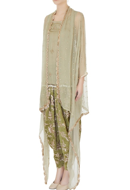 Olive green chiffon cape set