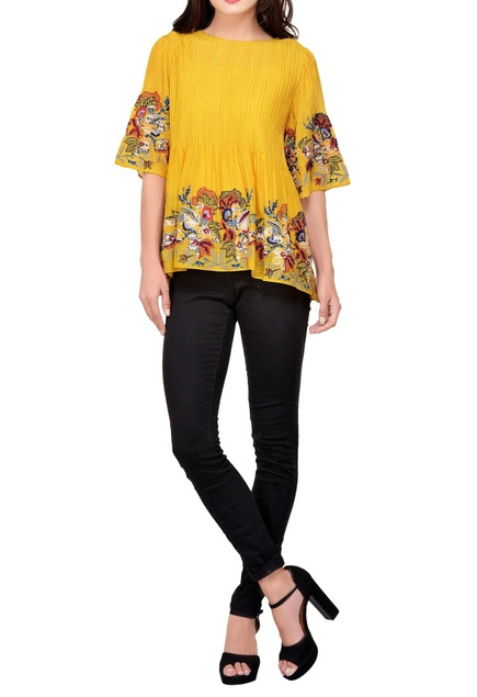Yellow embroidered & applique blouse