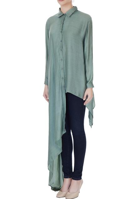Dusky blue cotton satin solid blouse