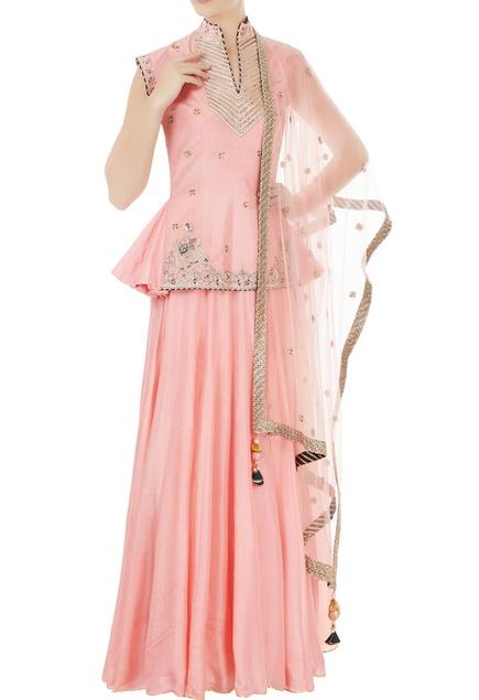 Pink silk & net elephant motif embroidered lehenga set