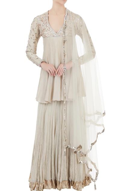Grey silk & net mukaish embroidered peplum blouse with lehenga & dupatta