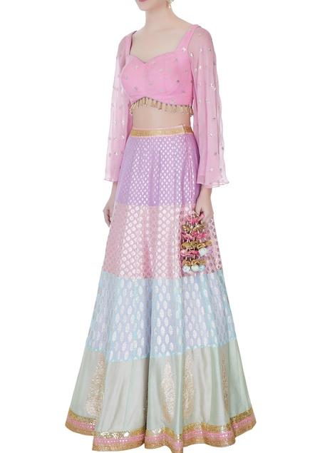 Purple & pink banarasi lehenga with flared sleeve blouse