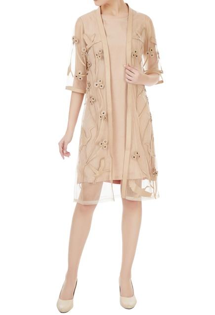 Beige leather applique bird kimono jacket