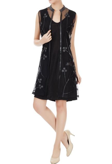 Black tulle net applique work sleeveless jacket
