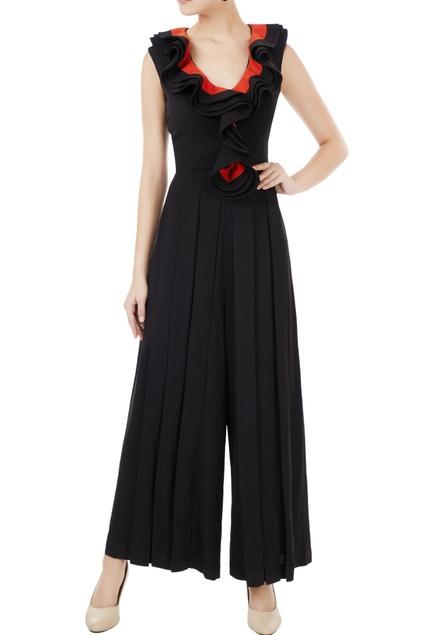 Black korean crepe sleeveless jumpsuit