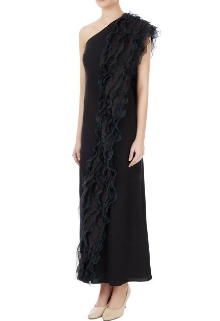 Black korean crepe & organza ruffle detail one-shoulder gown