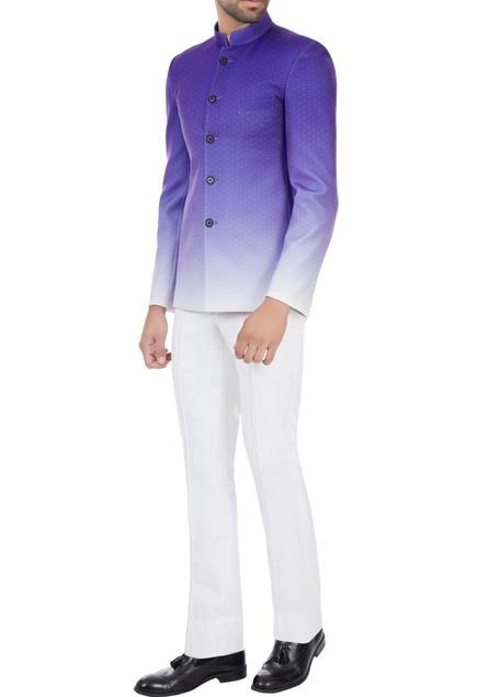 Purple gradient printed polyester bandhgala
