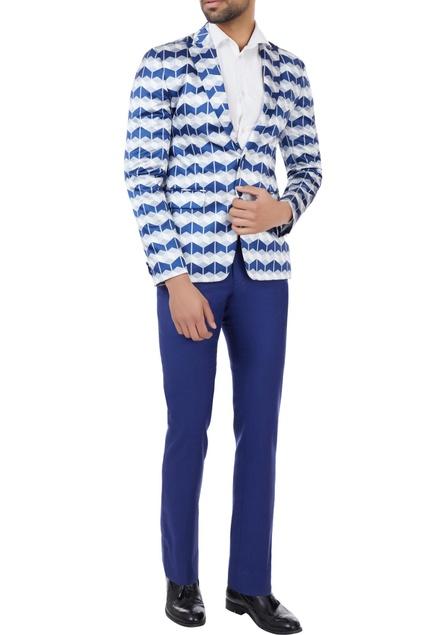 Blue & white geometric printed blazer