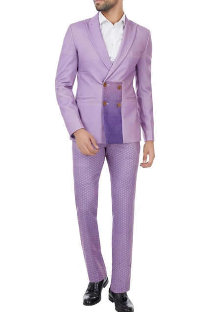 Lilac japanese suiting fabric double breasted suit