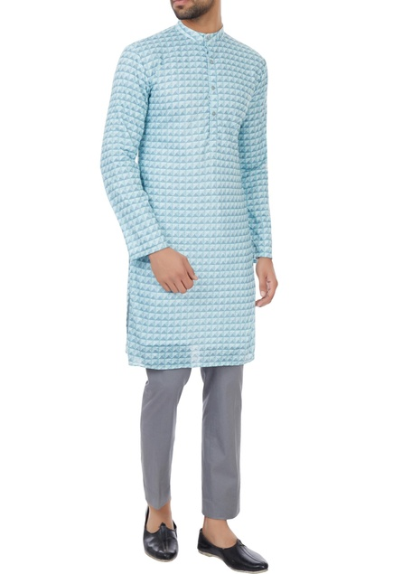 Mint blue poly-mesh kurta