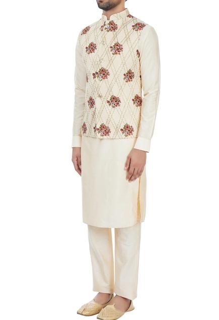 Beige floral embroidered nehru jacket