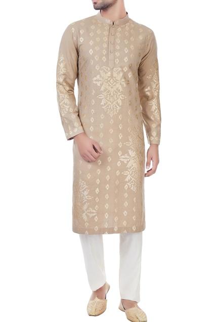 Beige gota embroidered kurta with unstitched pyjama fabric