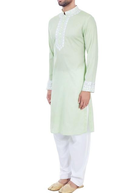 Light green mirror work embroidered kurta