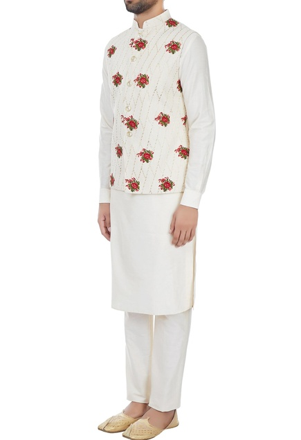 Ivory rose motif embroidered nehru jacket