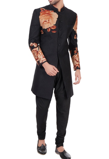 Black & orange quilted floral printed sherwani