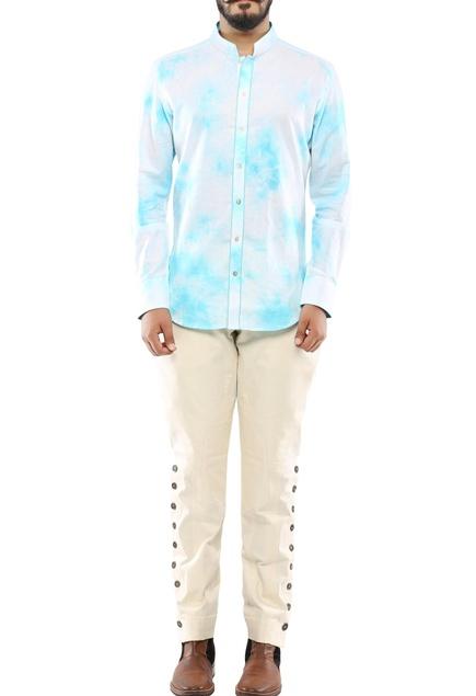 Blue linen streak printed shirt