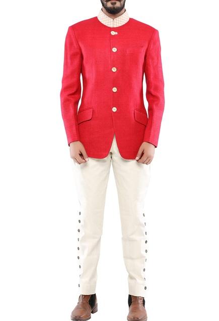 Red matka silk textured jodhpuri jacket
