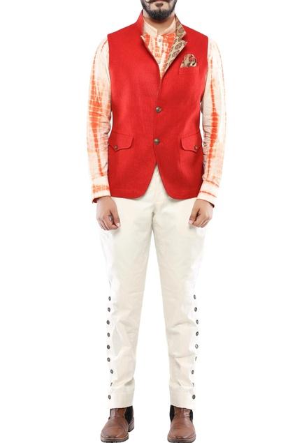Red matka silk nehru jacket