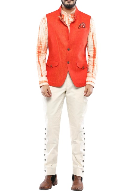 Orange linen two tone nehru jacket with convertible collar