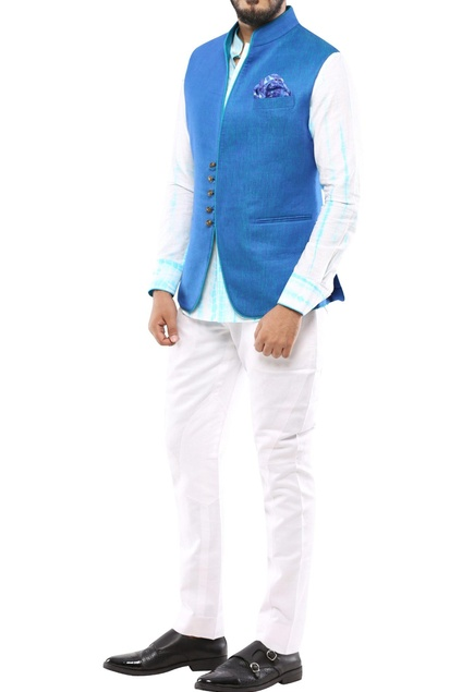 Blue nehru jacket with piping detailing
