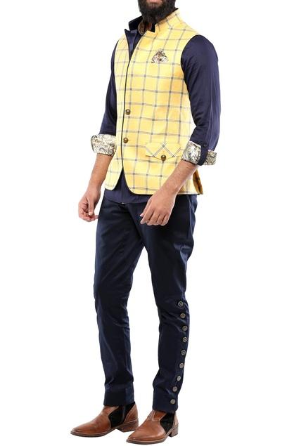 Yellow & blue check linen nehru jacket