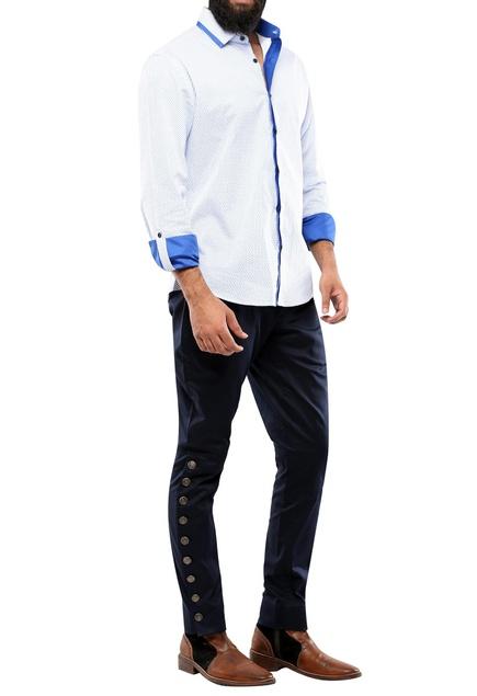 White & blue micro printed shirt