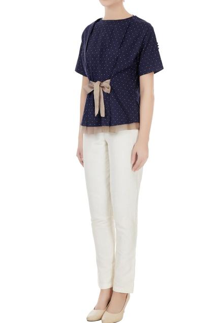 Indigo cotton polka blouse