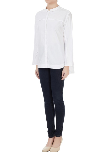 White cotton solid shirt with side zipper