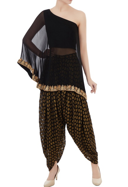 Black georgette hand embroidered one-shoulder cape wirh benarasi georgette dhoti pants