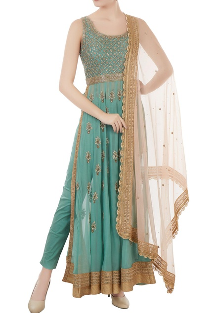 Dusty blue georgette & cotton lycra pearl & zardozi hand embroidered jacket with trousers & blush pink dupatta