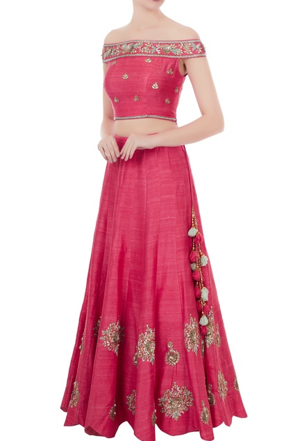 Pink raw silk gota patti & hand embroidered off-shoulder blouse with lehenga
